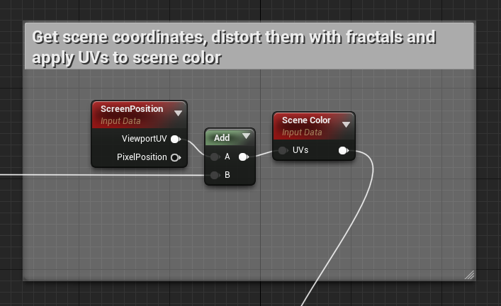 use of the screen position and scene color nodes